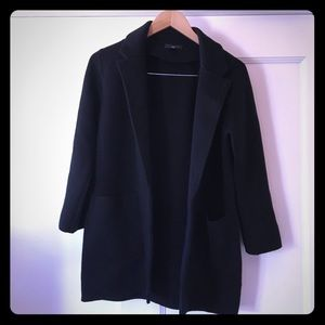 J. Crew Wool Open Blazer Sweater Cardigan Black